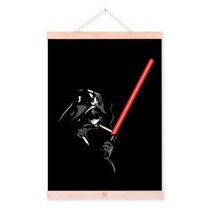 Modern Black Pop Movie Posters and Prints Darth Vader Vintage Home Decor Scroll Wall Art Pictures Wooden Framed Canvas Paintings