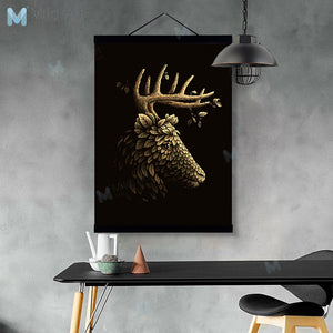 Vintage Gold Leaf Statue Deer Wooden Framed Posters And Prints Abstract Scroll Wall Art Pictures Retro Home Deco Canvas Painting