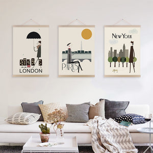 Vintage London Paris New York Posters Prints Nordic Style Home Decor Scroll Wall Art Pictures City Wooden Framed Canvas Painting