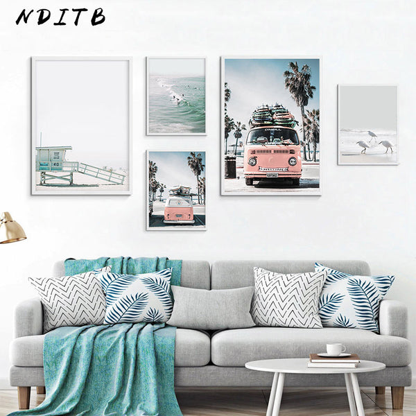 Scandinavian Tropical Landscape Posters Modern Prints Sea Beach Bus Wall Art Canvas