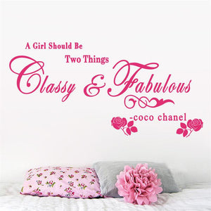 8380 A girl should be Classy and Fabulous quote wall stickers flower vinyl home decoration wall decals for kids girl room