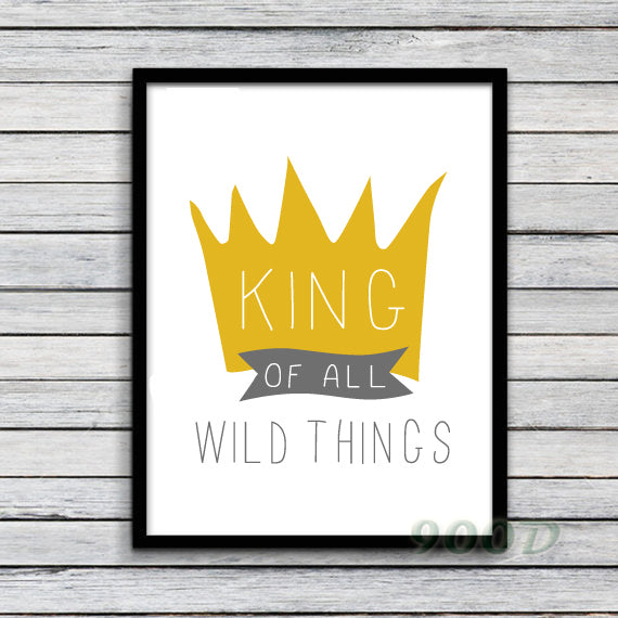 Cartoon Crown Canvas Art Print Painting Poster, Wild Thing Wall Photo For Room Decoration, Frame not include FA226