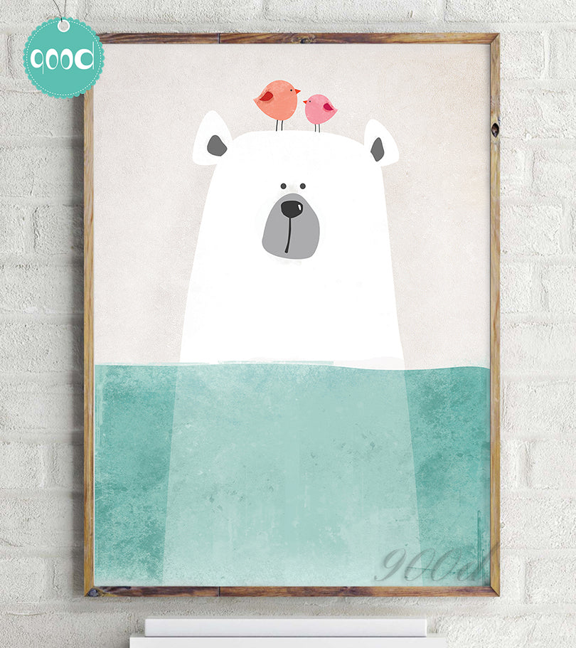 Cartoon Cute Polar Bear Canvas Art Print Painting Poster,  Wall Picture for Home Decoration,  Wall Decor FA400-3