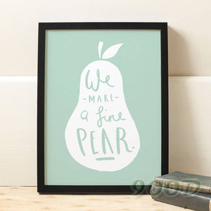 Cartoon Pear Canvas Art Print Poster, Wall Pictures For child Room Home Decoration Print On Canvas, Frame not include 164