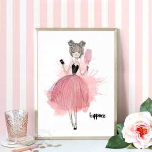 Watercolor Happiness Girl Canvas Art Print Poster,  Wall Pictures for Girl Room Decoration, Giclee Wall Decor CM022-3