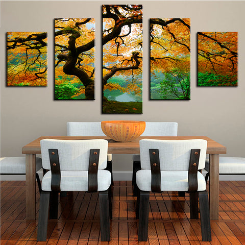 DP ARTISAN 5 PANELS Tree Spray Wall pictures for living Room cuadros decoracion wall painting No Frame printed canvas