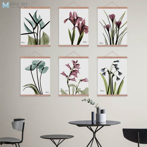 Beautiful Transparent Flower Floral Wooden Framed Posters Nordic Living Room Wall Art Pictures Home Decor Canvas Painting Scroll