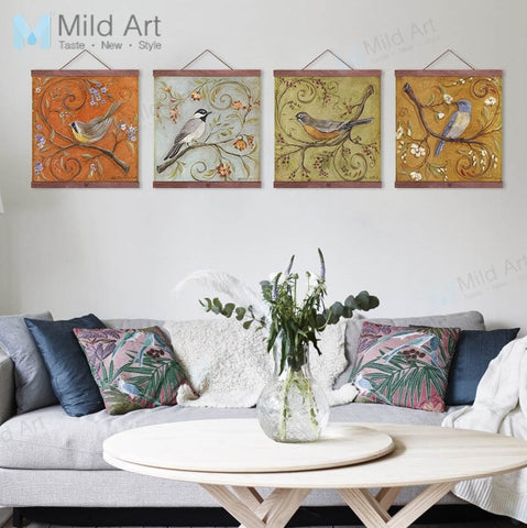 Vintage Retro Bird Flowers Drawing Wooden Frame Posters Chinese Living Room Wall Art Pictures Home Decor Canvas Paintings Scroll