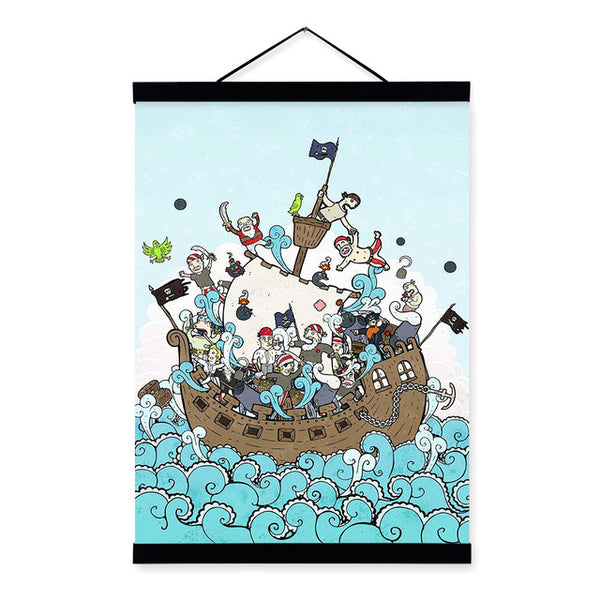 Kawaii Happy Pirates Sea Boat Wooden Framed Hanger Poster Kids Boy Room Wall Art Pictures Home Decoration Canvas Painting Scroll