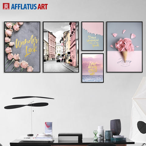 AFFLATUS Nordic Poster Flower Street Landscape Wall Art Canvas Painting Posters