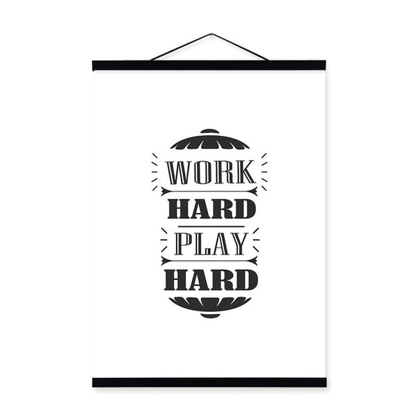 Vintage Typography Motivational Quotes Wooden Frame Poster Nordic Wall Art Print Picture Office Home Deco Canvas Painting Scroll