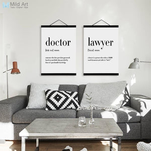 Black and White Design Humor Quotes Wooden Framed Posters Nordic Room Scroll Wall Art Pictures Home Decor Canvas Painting Hanger