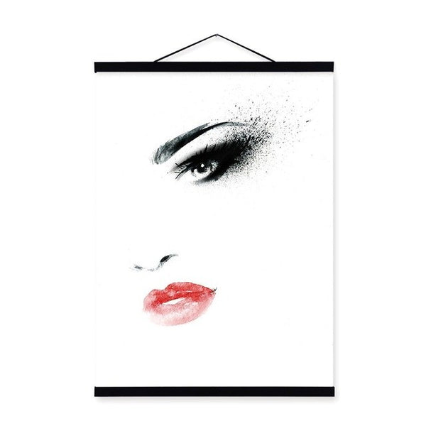 Fashion Sexy Girl Kiss Wooden Framed Poster Nordic Living Room Quotes Scroll Wall Art Pictures Hanger Home Decor Canvas Painting
