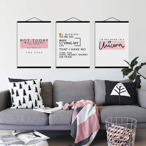 Pink Crown Diamond Sweet Quotes Wooden Framed Nordic Girl Room Canvas Paintings Home Decor Wall Art Print Pictures Poster Scroll