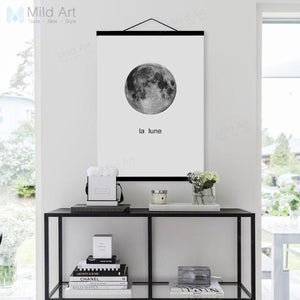 Black White Minimalist Moon French Typography Wooden Framed Posters Nordic Wall Art Pictures Home Decor Canvas Paintings Scroll