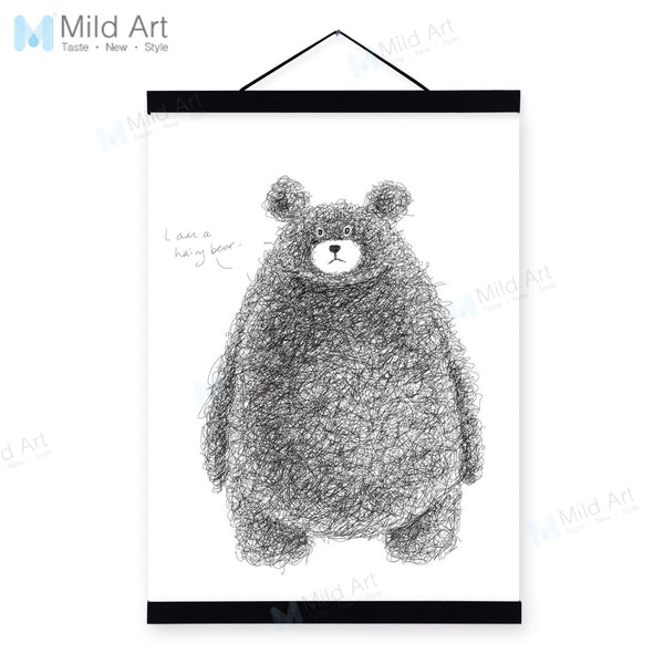 Black White Kawaii Bear Wooden Framed Hanger Posters Nordic Kids Baby Room Wall Art Pictures Home Decor Canvas Paintings Scroll