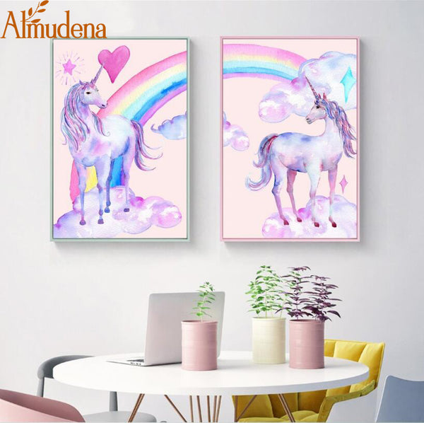 No Frame Nordic Rainbow and Horse Pictures Watercolor posters and Prints Unicorn Canvas Painting Kids