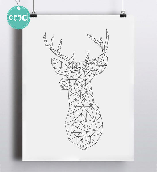 Geometric Deer Head Canvas Art Print Poster, Wall Pictures for Home Decoration, Wall decor FA221-2