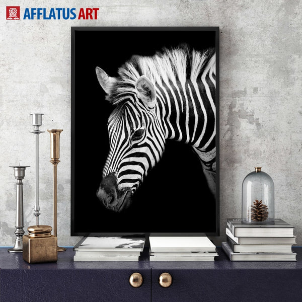 Black White Elephant Giraffe Zebra Wall Art Canvas Painting Nordic Posters And Prints Wall