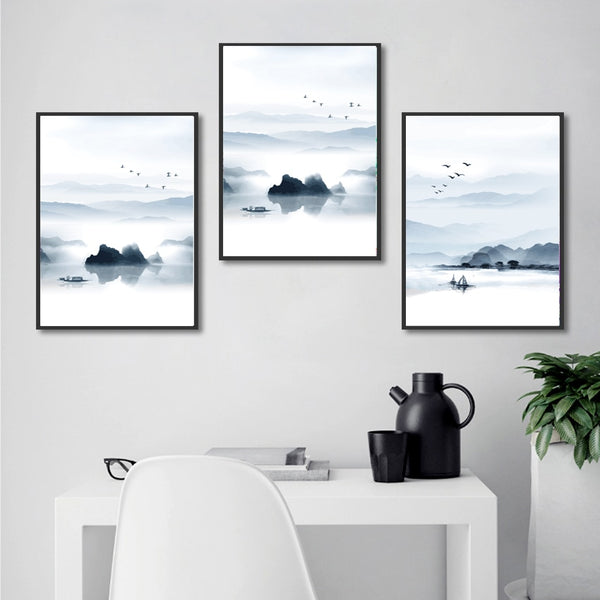 Nordic Mountain and Lake Landscape Painting No Frame Canvas Posters and Prints