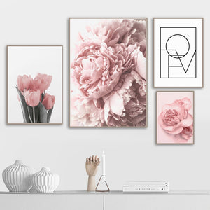 Pink Peony Tulips Rose Flower Wall Art Canvas Painting Nordic Minimalism Posters