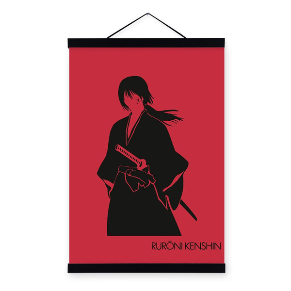 Red Japanese Anime Rurouni Kenshin Samurai Wooden Framed Poster Boy Game Room Wall Art Picture Home Decor Canvas Painting Scroll