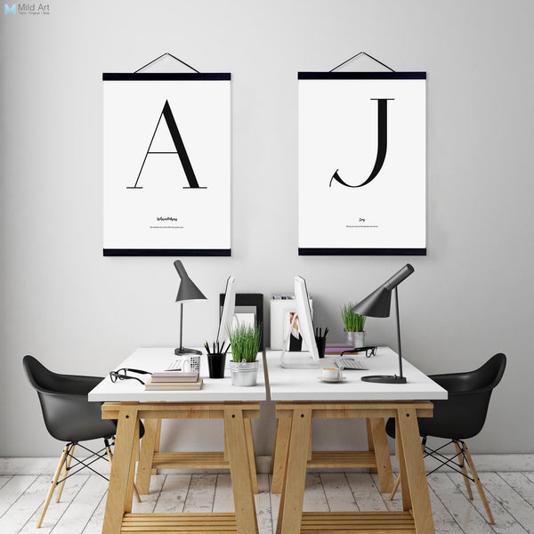 Minimalist Black White Typography Letter Quotes Wooden Framed Canvas Paintings Nordic Home Decor Wall Art Pictures Poster Scroll