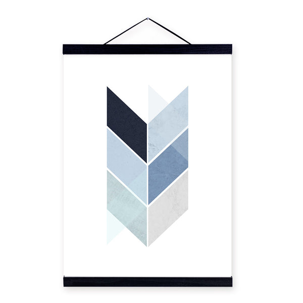 Modern Abstract Geometric Posters Print Nordic Style Home Decor Blue Living Room Wall Art Pictures Wooden Framed Canvas Painting