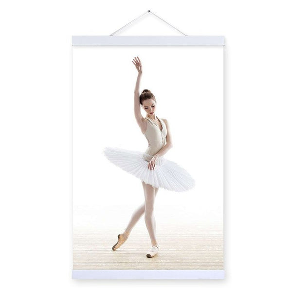 Modern White Swan Ballet Elegant Dance Girl Wooden Framed Posters Living Room Wall Art Picture Home Decor Canvas Painting Scroll