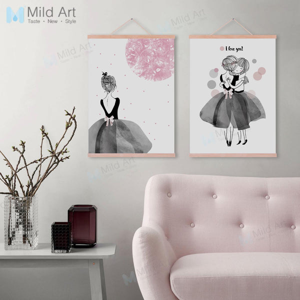 Modern Pink Ballet Dance Girl Friend Love Nordic Wooden Framed Posters Wall Art Print Pictures Home Decor Canvas Painting Scroll