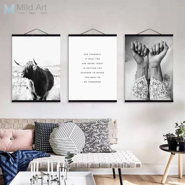 Black White Girl Figure Tattoo Sea Landscape Poster Print Wooden Framed Nordic Wall Art Picture Home Deco Canvas Painting Scroll