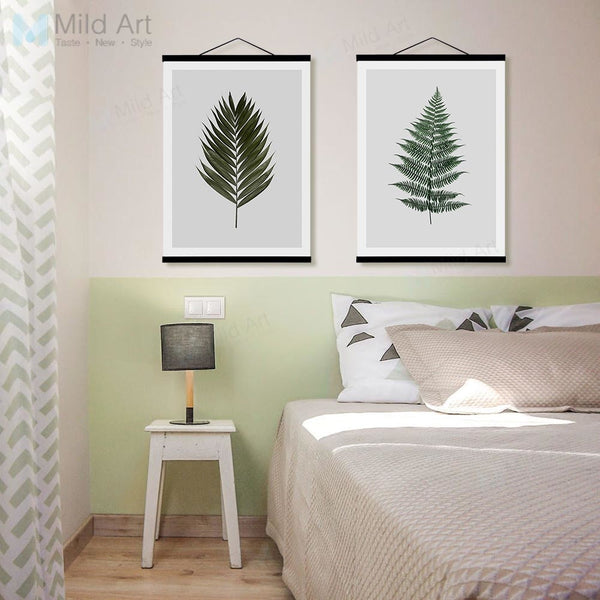 Minimalist Green Plants Maple Leaf Wooden Framed Posters Prints Scandinavian Wall Art Pictures Home Decor Canvas Painting Scroll