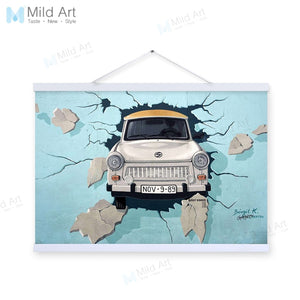 Modern Vintage Retro Car Street Graffiti Wooden Framed Poster Living Room Wall Art Picture Bar Home Decor Canvas Painting Scroll