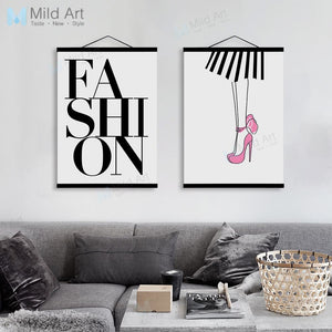 Minimalist Fashion High Heels Typography Wooden Framed Posters Scandinavian Girl Room Wall Art Home Decor Canvas Painting Scroll