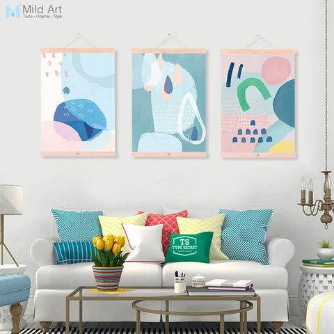 Noridc Abstract Color Geometric Shape Wooden Framed Hanger Poster Living Room Wall Art Picture Home Decor Canvas Painting Scroll