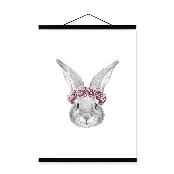 Pink Rose Flower Animal Head Cat Rabbit Face Wooden Framed Poster Print Nordic Home Deco Wall Art Picture Canvas Painting Scroll