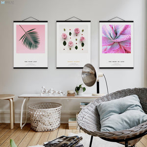 Flower Pink Rose Cactus Leaf Poster Wooden Framed Nordic Romantic Girls Room Wall Art Picture Home Decor Canvas Painting Scroll