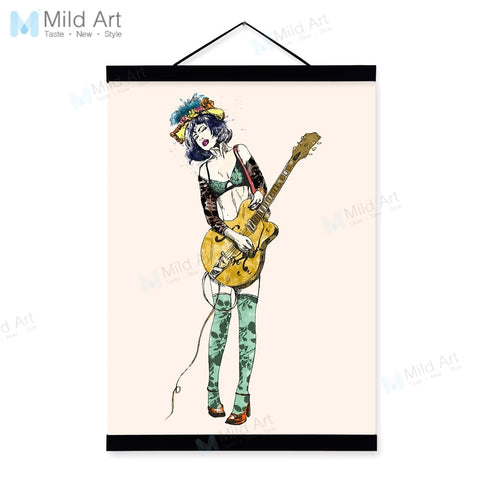 Vintage Retro Rock Roll Music Guitar Girl Wooden Framed Poster Living Room Wall Art Picture Bar Home Deco Canvas Painting Scroll
