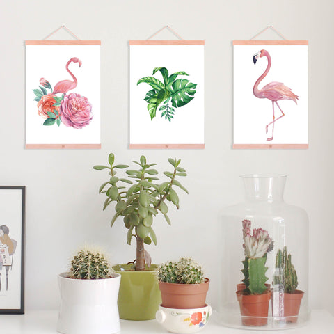Watercolor Animal Flamingo Green Leaf Wooden Framed Poster Nordic Living Room Wall Art Print Picture Home Decor Canvas Painting