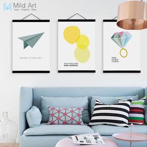 Modern Abstract Fashion Diamond Quotes Poster A4 Wood Frame Canvas Painting Nordic Living Room Home Deco Wall Art Picture Scroll