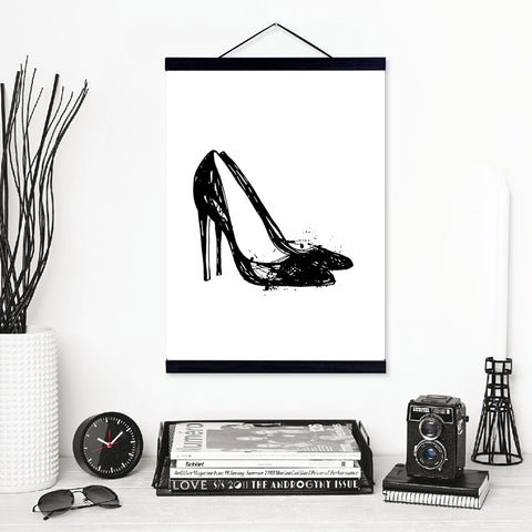 Black White High Heels Shoes Wooden Framed Canvas Paintings Nordic Girls Room Wall Art Pictures Home Decor Posters Hanger Scroll