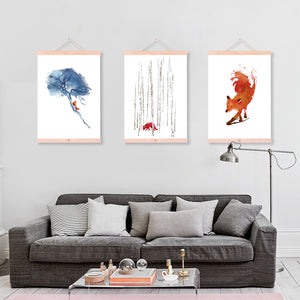 Watercolor Fox Forest Posters Prints Nordic Style Home Decor Living Room Wall Art Pictures Wooden Framed Canvas Paintings Scroll