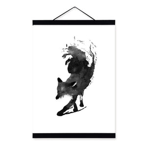 Red Fox Forest Abstract Posters and Prints Minimalist Canvas Art Painting
