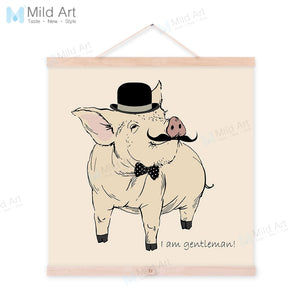Gentleman Animal Pink Pig Couple Wooden Framed Hanger Art Print Posters Wall Pictures Weeding Decoration Canvas Paintings Scroll
