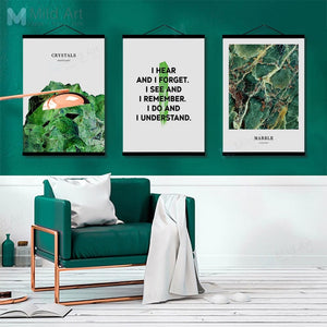 Green Plants Marble Inspire Quotes Wooden Framed Posters  Scandinavian Wall Art Picture Home Decor Canvas Painting Hanger Scroll