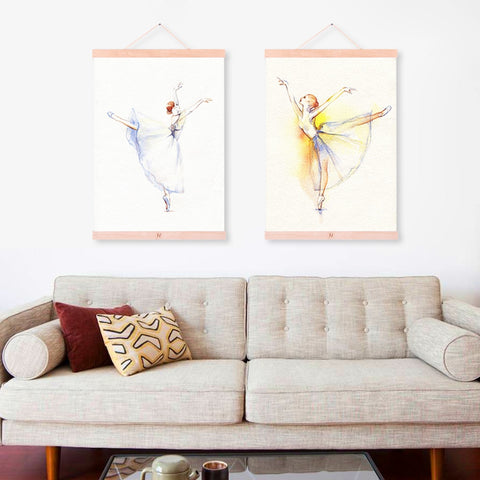 Watercolor Modern Dance Ballet Poster Beautiful Girl Room Wooden Framed Canvas Painting Home Decor Wall Art Print Picture Scroll