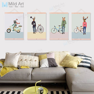 Vintage Gentleman Hipster Animals Bicycle Deer Wooden Framed Canvas Painting Nordic Scroll Wall Art Pictures Decor Poster Prints