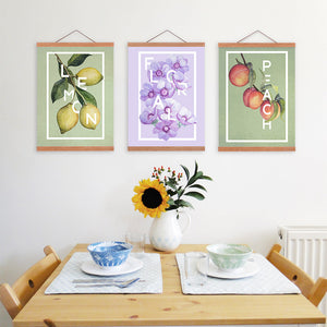 3 Piece Food Quote Poster Print Nordic Style Kitchen Home Decor Fruit Lemon Wall Art Picture Scroll Wooden Frame Canvas Painting