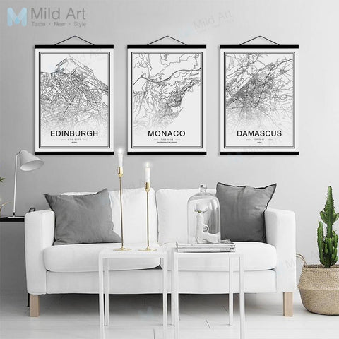 Black and White World City Map Toronto Las Vegas Wooden Framed Posters Nordic Canvas Painting Home Decor Scroll Wall Art Picture