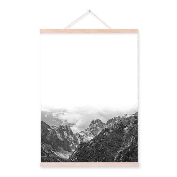 Minimalist Typography Quotes Mountain Landscape Wooden Framed Posters Nordic Wall Art Pictures Home Decor Canvas Painting Scroll